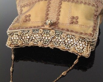 Vintage evening bag purse 1920s Art Deco flapper beaded