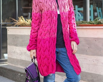 Knitted Cardigan Oversized Striped long cardigan ornament Volume cardigan Wool knit coat Woman knit coat  Winter knit jacket Pink cardigan