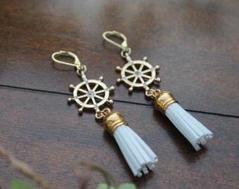 Nautical Tassel Earrings, White Tassel Earrings, Gold Tassel Earrings, Ship Wheel Earrings, Suede Tassel Earrings