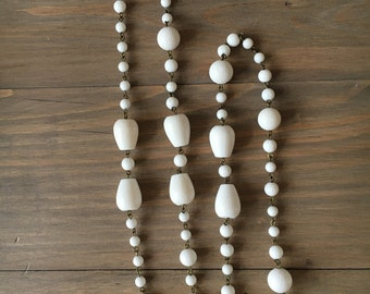 White coral drops long necklace
