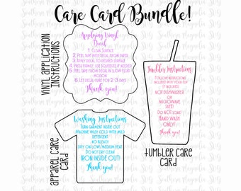 Care Card Instructions BUNDLE - Apply Vinyl Decal - Print and Cut File - Silhouette - Cricut - Care Instructions - SVG - Design - File ONLY