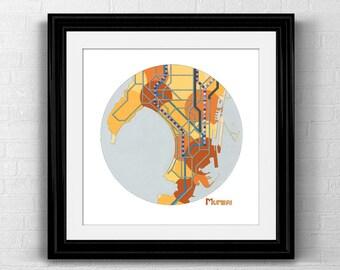 Mumbai City Map Print- Mumbai Poster Neighborhood Map Transit Map Road Map Art