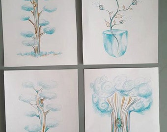 set of 4 original Illustrations portraits of trees and flowers