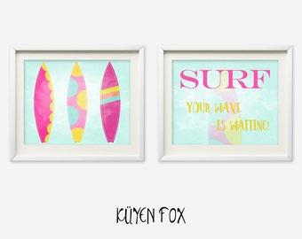 Surf wall art - surf nursery art - kids wall art - Nursery Decor - surf wall print -girl surfboard nursery art - pink surf wall art