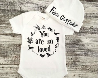 Baby Onesie ,You Are So Loved Onesie ,Harry Poter Inspired Baby Onesie and Hat Set , Harry Poter Baby Bodysuit , Baby Shower Gift