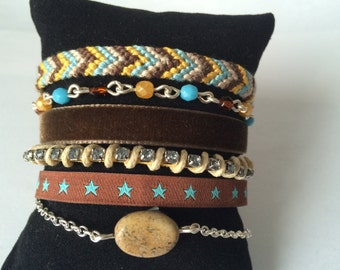"""Brazilian Cuff Bracelet """"Autumn on the beach"""" in shades of Brown, beige, blue, and yellow saffron"""