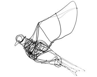 wire sculpture of flying birds