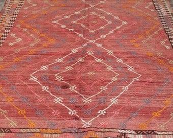 Handwoven 'cicim' turkish kilim rug - 7 x 5 ft