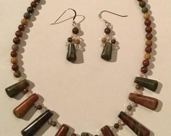 Picasso Jasper and Swarovski Crystal Collarette and Matching Earrings