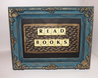 Scrabble frame.hand painted. READ BOOKS.