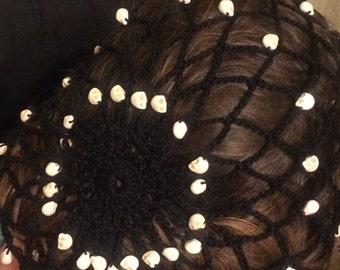 Skull bead snood hairnet, Renaissance, Victorian, gothic, bridal, nampire