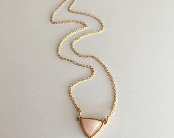 Triangle Pink Quartz Gold Necklace, Triangle Pendant, Geometric Gold Necklace