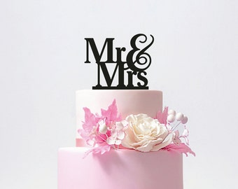 Personalized Mr and Mrs Wedding Cake Topper with YOUR Last Name / ST004