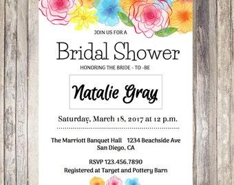 Floral Bridal Shower Invitation - Printable
