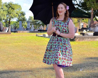 vintage dress, pin up dress, 1950s dress, 50s clothing, rockabilly dress, cotton dress, fruit, plus size dress