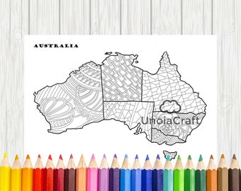 Australia Map Coloring Page Sheets Pdf Color Therapy Print
