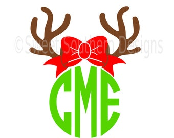 Reindeer antler with bow monogram deer  SVG instant download design for cricut or silhouette