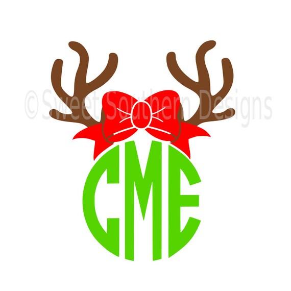 Reindeer antler with bow monogram deer SVG instant download design for ...