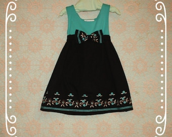Girls Summer dress, Teal and black girls dress, Girls size 3 dress, Girls size 4 dress, Girls black dress, Girls clothing, Toddler dress