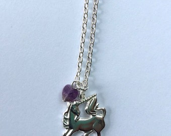 Unicorn Necklace, Girls prancing unicorn pendant necklace, Unicorn charm necklace