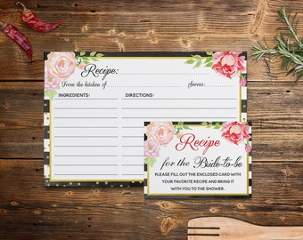 Recipe Card, Recipe Cards for Bridal Showers, Black White Gold, Floral Recipe Card Template, Instant Download, Digital Printable 4x6