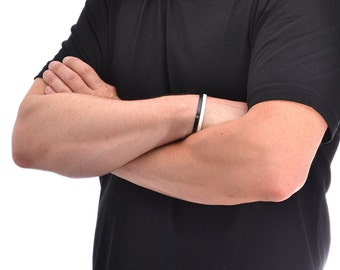 Mens Leather Bracelet / Leather Cuff Bracelet, Leather Wrap Bracelet / Black White Leather Bracelet, Leather Wrist Cuff, Leather Wristband