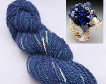 Hand Dyed Small Farm Worsted Weight Alpaca Yarn- Azurite Blue
