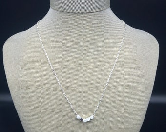 Matte and shiny silver nugget necklace