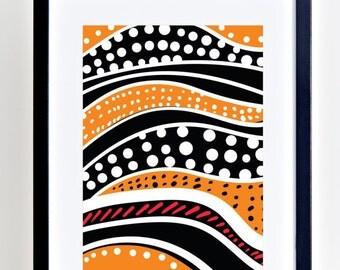PRINTABLE, African Inspired, Orange Dive, Printable Art