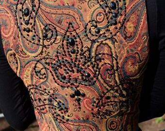 Vintage Paisley Vest with Beaded Detail // Andrea Jovine Vest