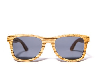 Ofey & Co. Zebrawood handcrafted wooden sunglasses