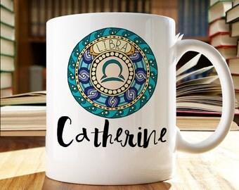 Personalized Libra Mug, Zodiac Mug, Libra Sign Mug,  Astrology Mug, Gift for Libra, Cute Libra Mug, Chic Libra Mug