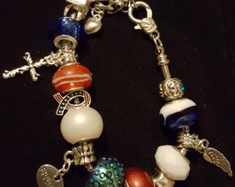 Patriotic red, white, & blue charm bracelet