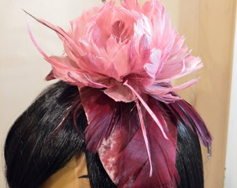 1920s Flapper Gatsby Pink Salmon Feather Peony Fascinator Headpiece