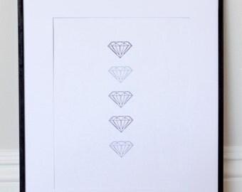 Grey and Beige Diamond Line Print