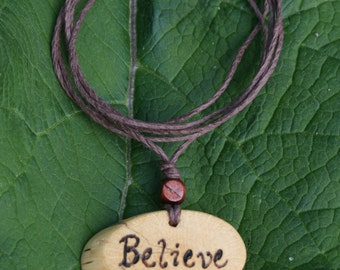 Believe Necklace, Inspirational Necklace, Handmade Jewelry, Oak Pendant, Quote Necklace, Word Jewelry, Natural Jewelry, Organic Jewelry