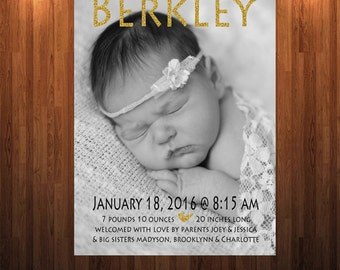Newborn annoucement, Baby annoucement, Newborn Girl annoucement, Baby annoucement, Glitter newborn annoucement, Welcome baby