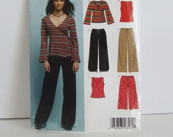 Uncut New Look easy sewing pattern 6414 ladies casual knit tops and drawstring pants lounge wear pajamas work out