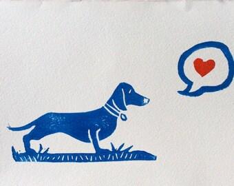 Hand Stamped Dachschund Art Print