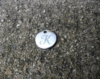 Stainless Steel Initial Charms, 13 mm,Initial J, Silver Letter K, Script Initial Charm