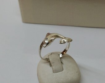 17.4 mm silver Dolphin ring RP126