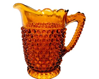 Antique 1891 Doyle & Co. Hobnail Thumbprint Amber EAPG Glass Water Pitcher
