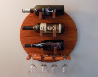 Wine Rack, wall mounted holds 3 bottles & 4 glasses  unique gift for  weddings. Father's Day, birthday, graduation gift - choose stain color