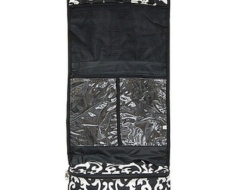 Monogrammed Black Damask Hanging Toiletry/Cosmetic Bag-Personalized Gift-Hanging Cosmetic-Monogram Cosmetic-Monogram Toiletry
