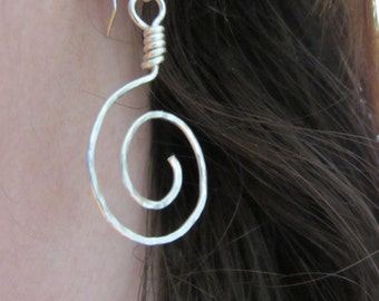 Sustainable spiral earrings with interchangable paper beads handmade with eco silver, add-a-pendant earrings
