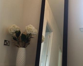 Black wood frame mirror 1500 x 400