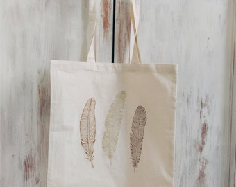 Canvas tote bag feathers gold silver