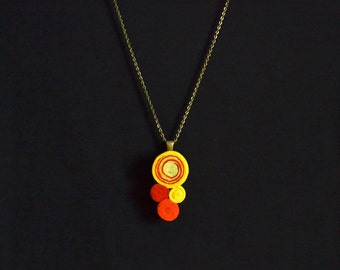Pendant necklace with spirals felt and old bronze metal chain handmade orange and yellow