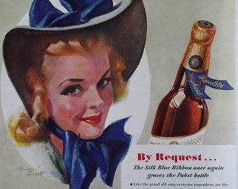 Beautiful 1940 Pabst Blue Ribbon PBR Beer Ad Bradshaw Crandall Art