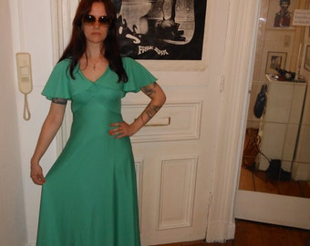 1970s Evening Dress Cape Dress green